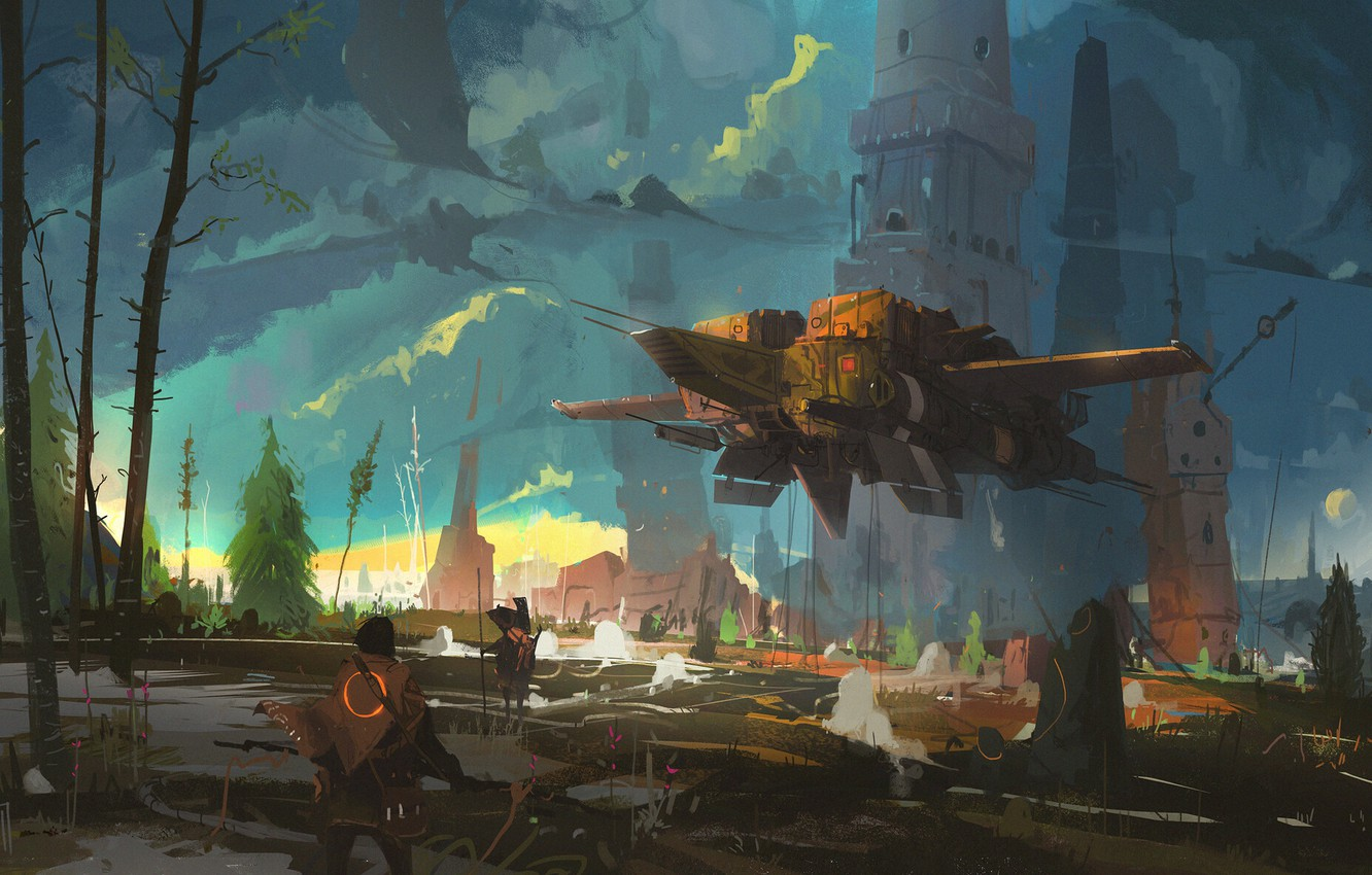 Фото обои fantasy, tower, trees, nature, spaceship, men, artist, artwork, concept art, fantasy art, Ismail Inceoglu