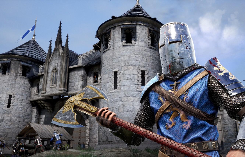 Фото обои город, оружие, доспехи, шлем, рыцарь, Chivalry 2