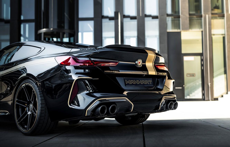 Фото обои чёрный, тюнинг, купе, BMW, задняя часть, Manhart, 2020, BMW M8, 4.4 л., двухдверное, V8 Biturbo, …