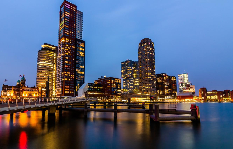 Фото обои огни, вечер, Нидерланды, Голландия, Роттердам