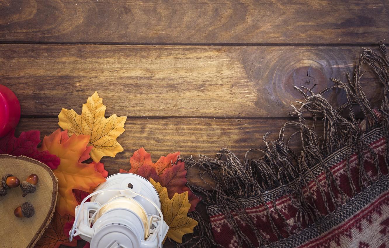 Фото обои осень, листья, дерево, colorful, шарф, фонарь, wood, желуди, background, autumn, leaves, lantern, maple