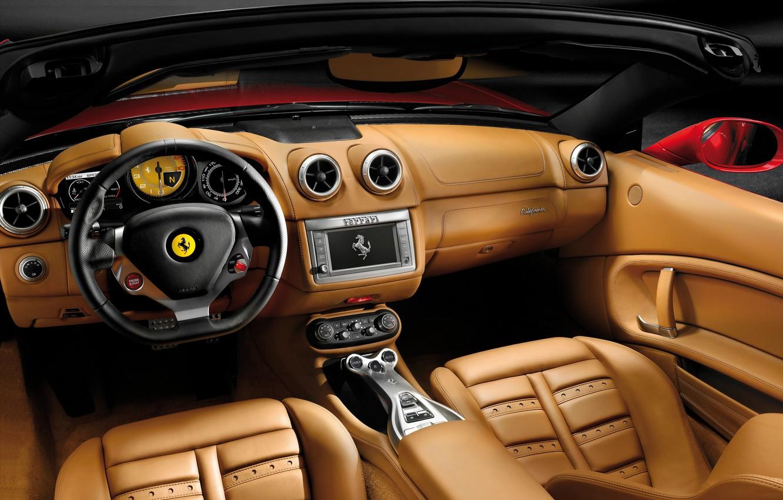 Фото обои кожа, руль, Ferrari, салон, California, 2008–12