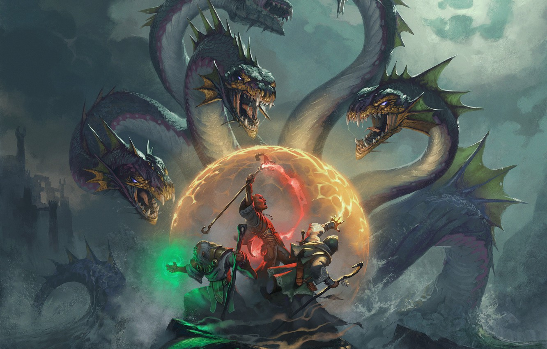 Фото обои море, битва, гидра, маги, fantasy art, Hugh Pindur