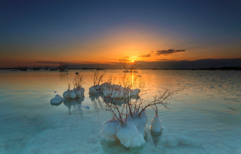 Фото обои закат, Солнце, соль, Мертвое море
