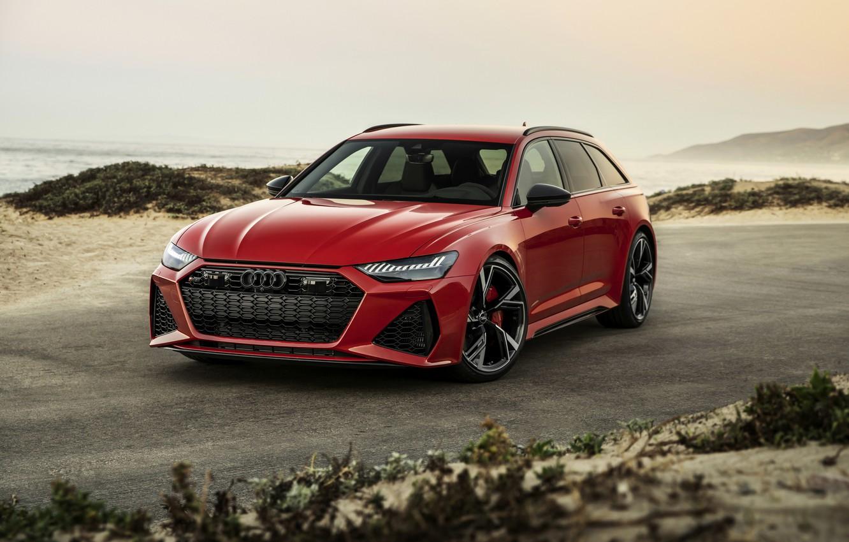 Фото обои песок, красный, Audi, универсал, RS 6, 2020, 2019, возле берега, V8 Twin-Turbo, RS6 Avant