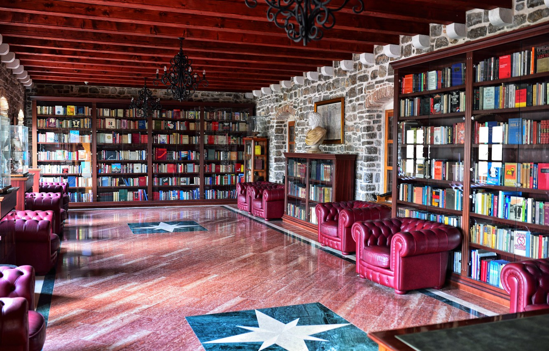 Фото обои книги, интерьер, кресла, библиотека