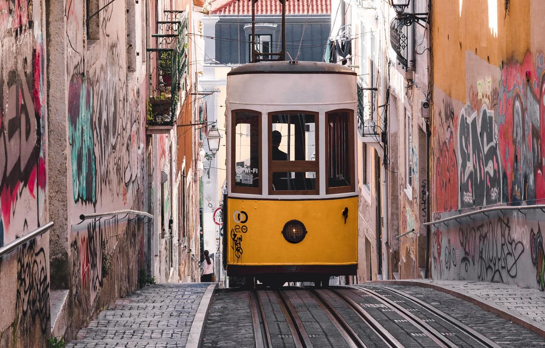 Обои трамвай, люди, улица, дома. Города foto 11