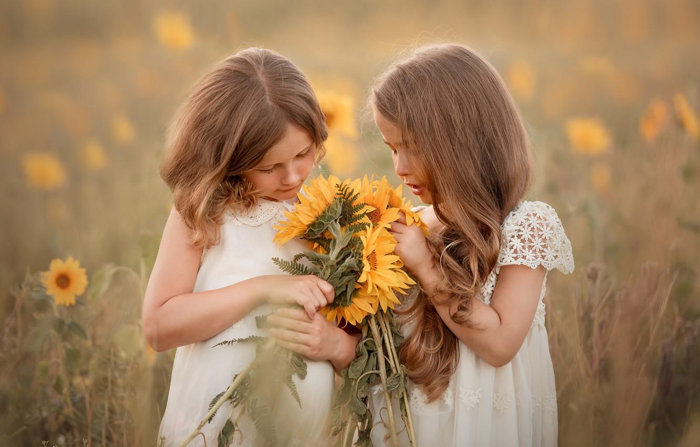 Фото обои лето, подсолнухи, девочки