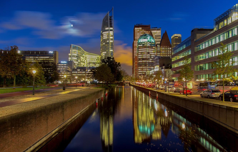 Фото обои огни, вечер, канал, Нидерланды, набережная, Гаага