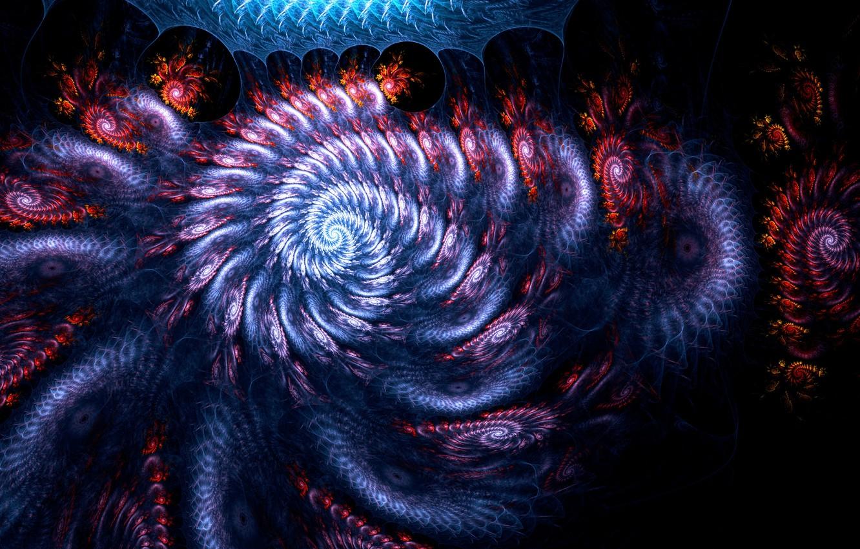 Фото обои космос, взрыв, оранжевый, синий, желтый, красный, сиреневый, голубой, черный, темный, улитка, взрывы, поток, светлый, dark, …