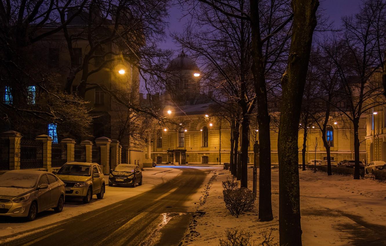 Фото обои ночь, город, улица, вид, Питер, Санкт-Петербург, Россия, архитектура, мегаполис, Ленинград, Тифлисская улица