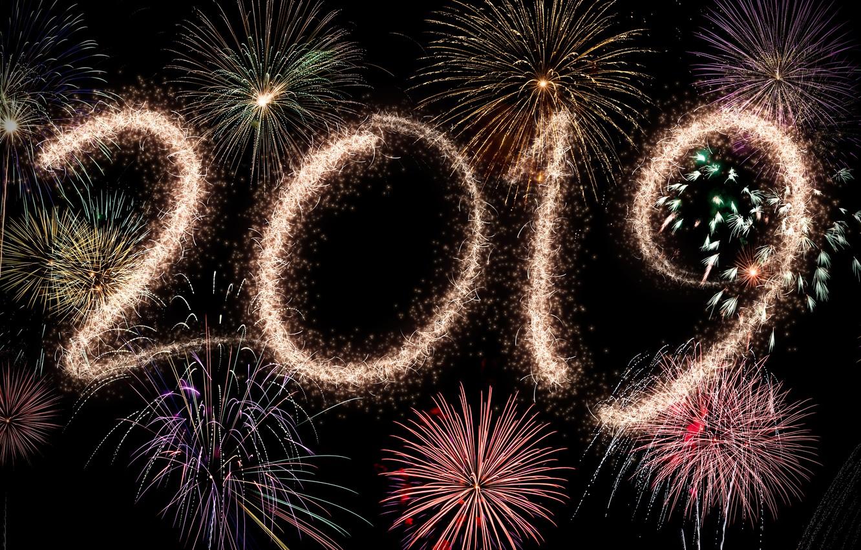 Фото обои ночь, огни, салют, colorful, Новый Год, happy, night, New Year, fireworks, 2019