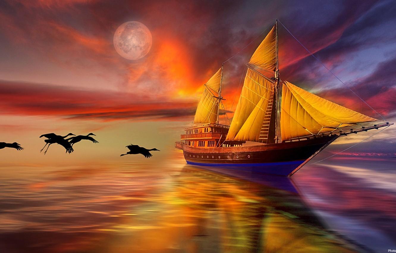 Фото обои море, небо, птицы, парусник