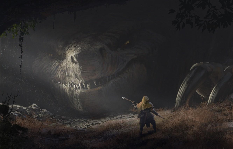 Фото обои взгляд, дракон, человек, фэнтези, арт, когти