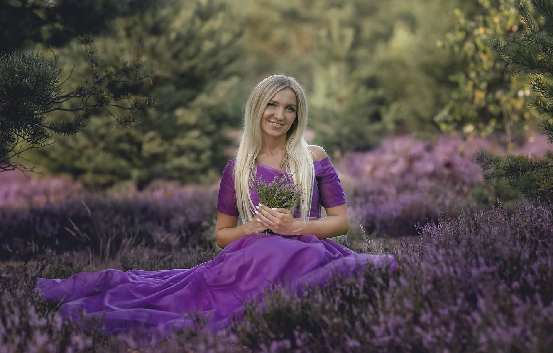 Фото обои лето, девушка, цветы, природа