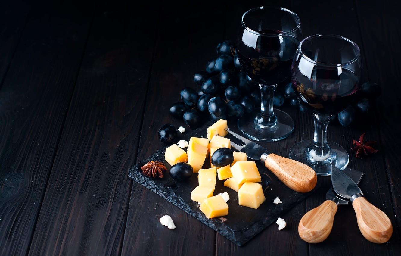 Фото обои вино, сыр, бокалы, виноград