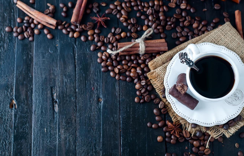 Обои кофе, зерна, блюдце, палочки корицы. Еда foto 18