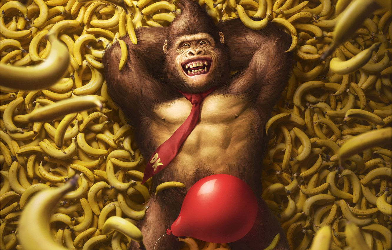 Фото обои Игра, Шарик, Бананы, Арт, Art, Nintendo, Illustration, Donkey Kong, Characters, Monkey, Banana, Balloon, Gorilla, Горилла, ...