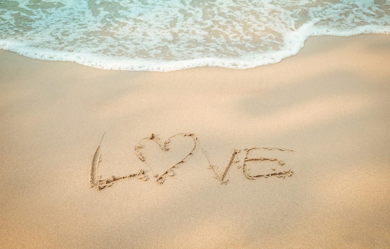 Фото обои песок, море, волны, пляж, лето, summer, love, beach, sea, heart, blue, sand, wave