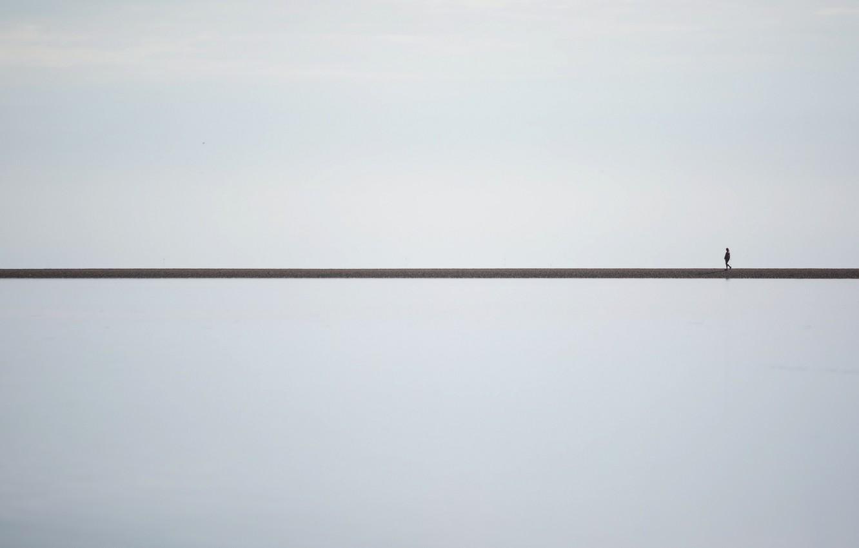 Фото обои человек, минимализм, горизонт