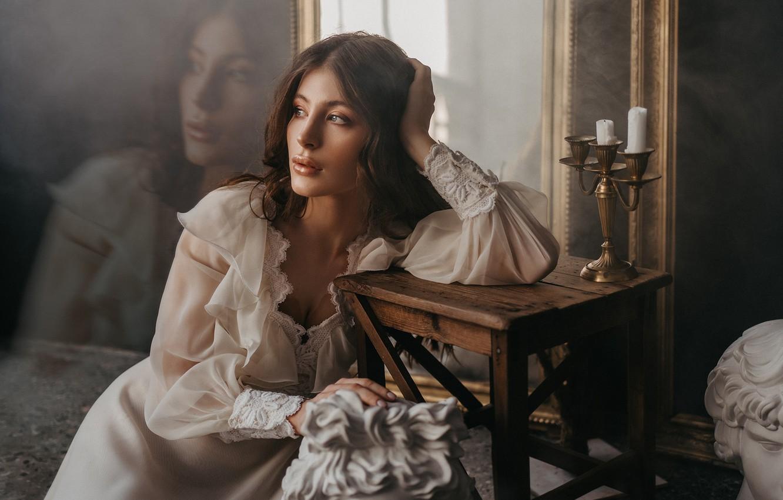 Фото обои девушка, поза, платье, зеркала, подсвечник, табурет, by Альбина Пономарева, Алина Касаткина