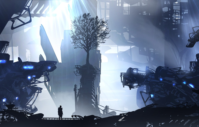 Фото обои city, art, figure, tree, man, artist, digital art, spaceships, artwork, futuristic, wreckage, TacoSauceNinja