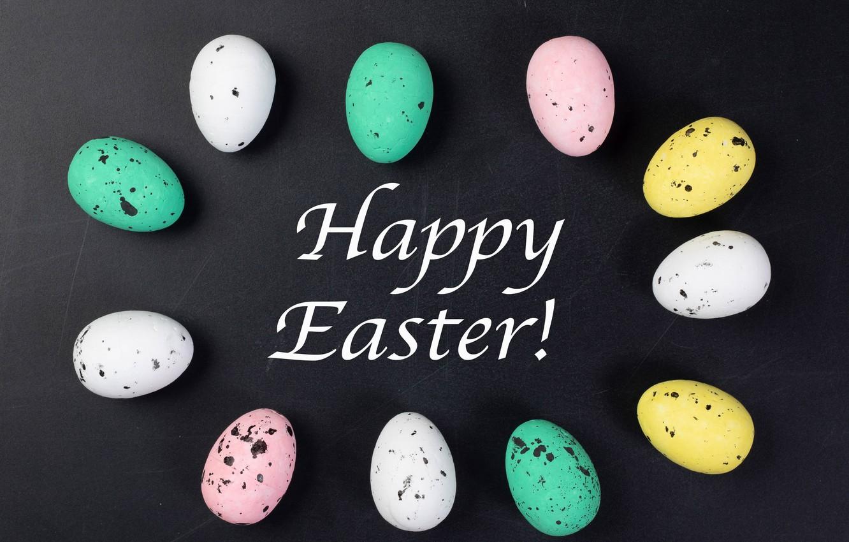 Фото обои яйца, Пасха, крашенки, тёмный фон