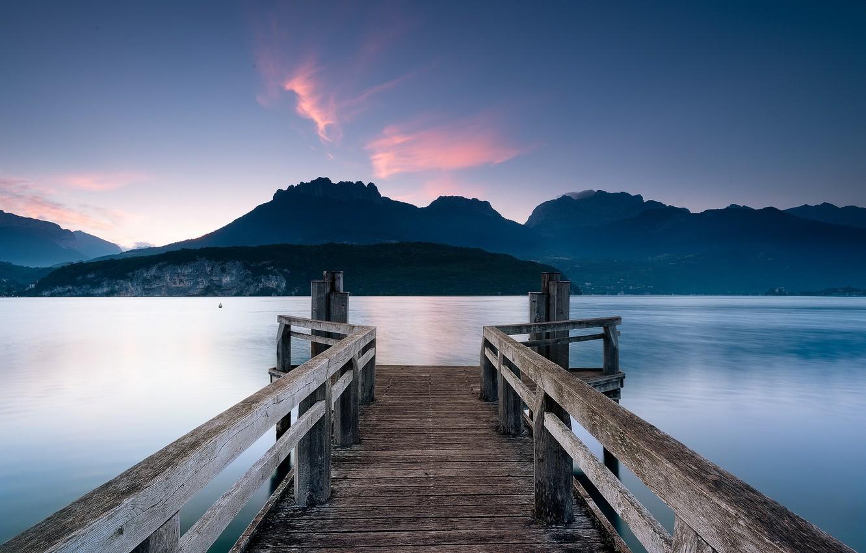 Фото обои France, Rhône-Alpes, St.-Jorioz, Lac d'Annecy