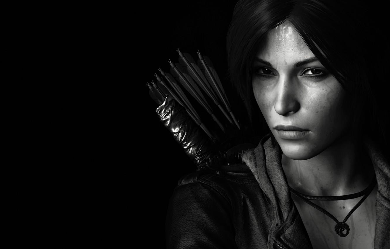 Фото обои lara croft, tomb raider, face, black and white, look, bow, arrows, dark hair, jacket, sight