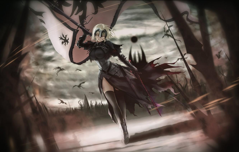 Фото обои girl, sword, fantasy, armor, weapon, war, anime, flag, warrior, fantasy art, dragons, helmet, illustration, banner, …