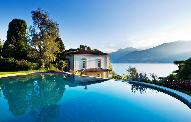 Фото обои горы, озеро, вилла, бассейн, Италия, Комо, Villa Giuseppina