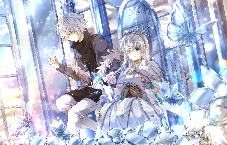 Фото обои Цветы, Девушка, Бабочки, Парень, Fate / Grand Order