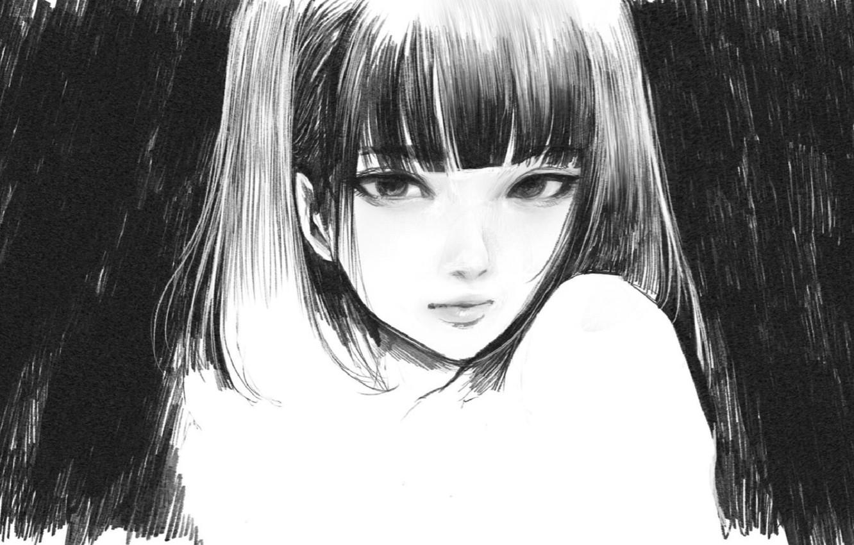 Фото обои лицо, черно - белый, челка, портрет девушки, рисунок карандашом, by Wataboku