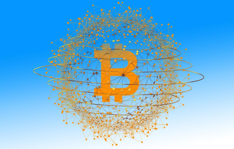 Фото обои потоки, монета, биткоин, электронная валюта