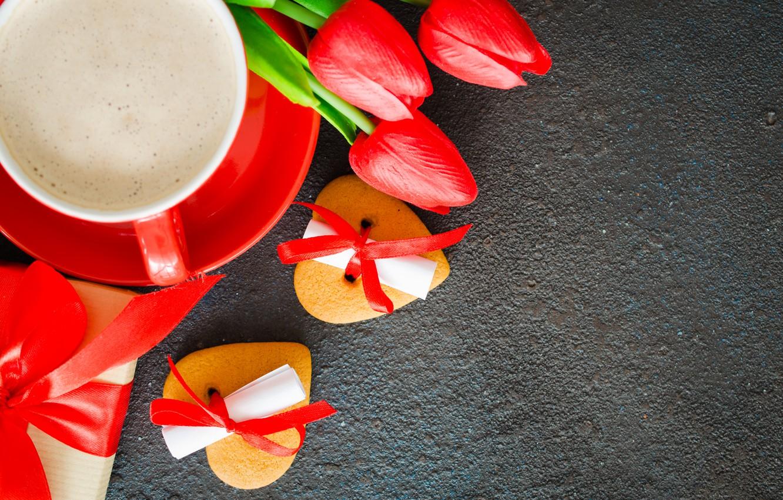 Фото обои любовь, цветы, подарок, букет, сердечки, тюльпаны, красные, red, love, flowers, romantic, hearts, tulips, coffee cup, …
