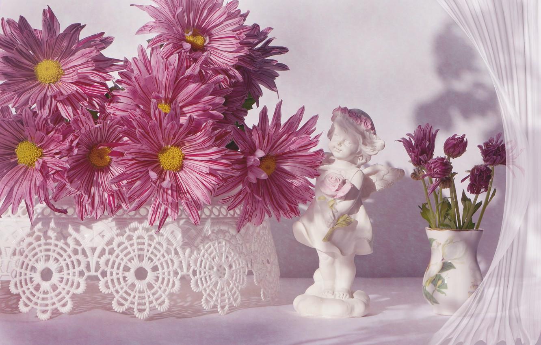 Фото обои цветы, ваза, статуэтка, розовые, хризантемы