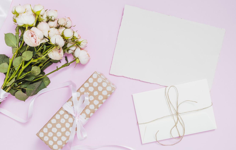 Фото обои подарок, розы, букет, конверт