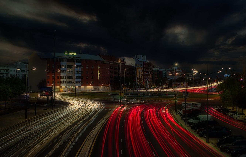 Фото обои ночь, город, огни, Valencia
