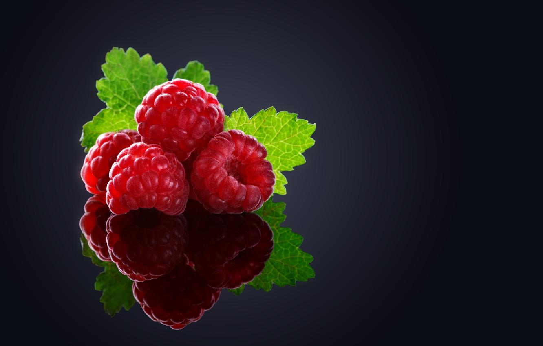 Фото обои макро, ягоды, малина, фон, черный
