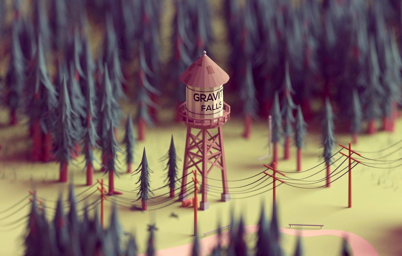 Фото обои лес, столбы, провода, модель, елки, вышка, мультсериал, gravity falls, водонапорная вышка