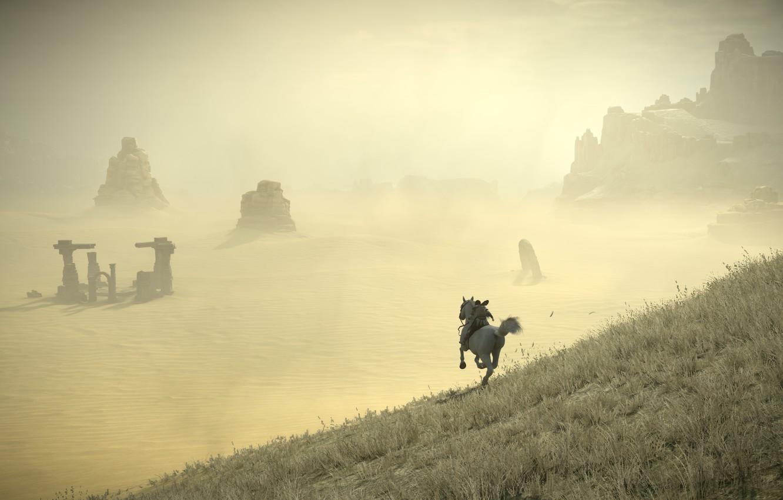 Фото обои скалы, пустыня, всадник, руины, Shadow of the Colossus, В тени колосса