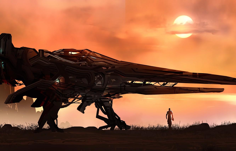 Фото обои fantasy, science fiction, sun, man, sci-fi, digital art, artwork, fantasy art, Spaceship, illustration, futuristic, astronaut