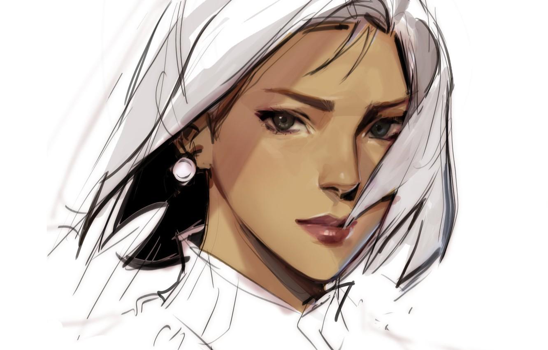 Фото обои взгляд, лицо, рисунок, белый фон, серьга, art, портрет девушки, Julia Shi