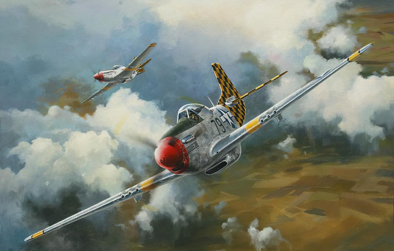 Фото обои war, art, airplane, aviation, ww2, p51 d mustang