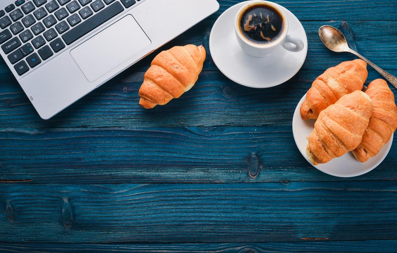 Фото обои coffee, table, croissants