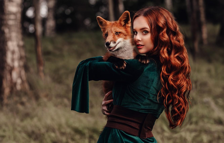 Фото обои взгляд, девушка, настроение, лиса, рыжая, друзья, рыжеволосая, длинные волосы, локоны, Наталия Андреева, by Альбина Пономарёва