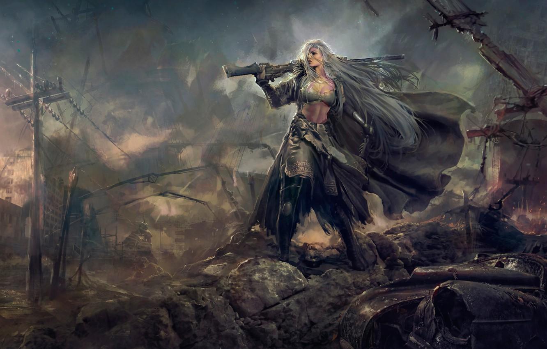 Фото обои девушка, эльф, руины, эльфийка