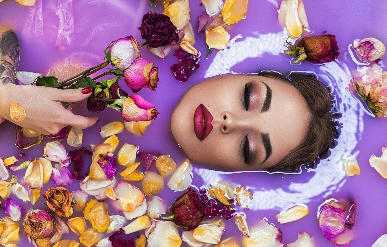 Фото обои вода, девушка, цветы, лицо, розы, макияж, лепестки, закрытые глаза, Софья Ознобихина