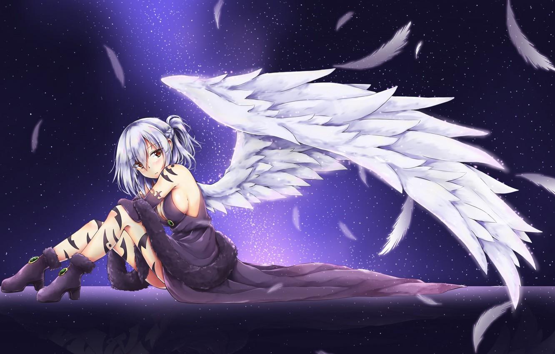 Фото обои девушка, ангел, перья, touhou, kishin sagume, akiteru98