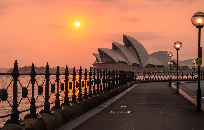 Фото обои Sunrise, Sydney, opera house, harbour bridge